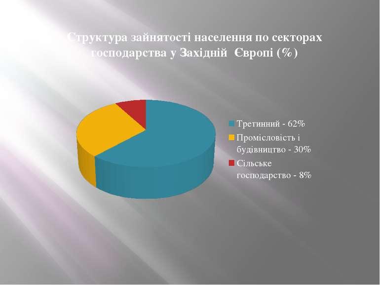 Структура зайнятості населення по секторах господарства у Західній Європі (%)