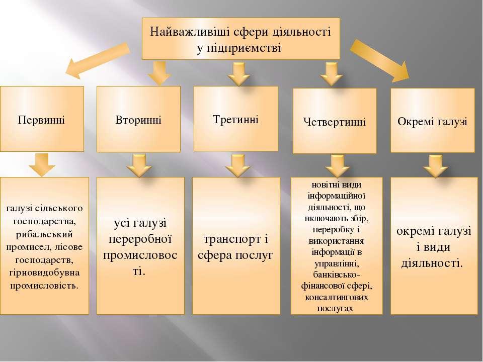 Найважливіші сфери діяльності у підприємстві Вторинні Третинні Первинні Четве...