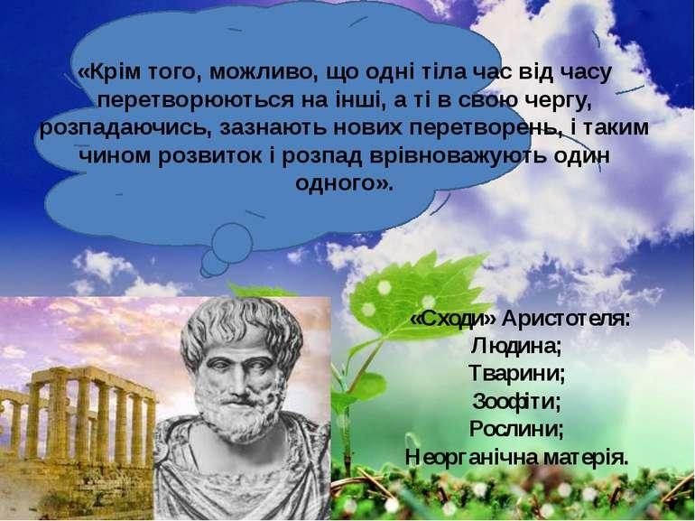 «Сходи» Аристотеля: Людина; Тварини; Зоофіти; Рослини; Неорганічна матерія. «...