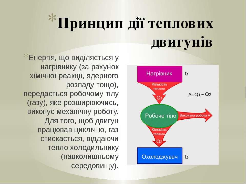 Принцип дії теплових двигунів Енергія, що виділяється у нагрівнику (за рахуно...