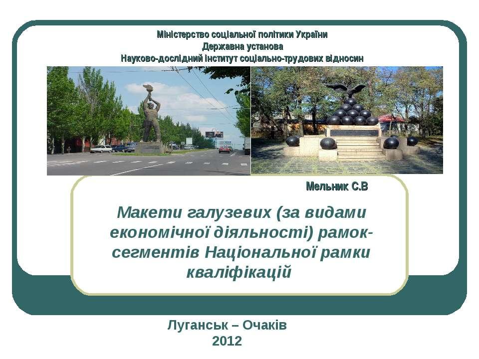 Макети галузевих (за видами економічної діяльності) рамок-сегментів Національ...