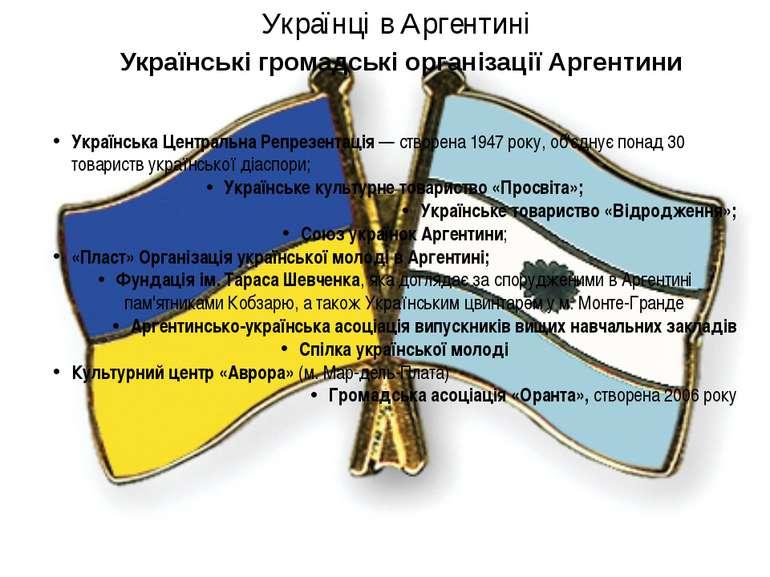 Українська Центральна Репрезентація— створена 1947 року, об'єднує понад 30 т...