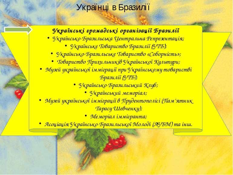 Українці в Бразилії Українські громадські організації Бразилії Українсько-Бра...