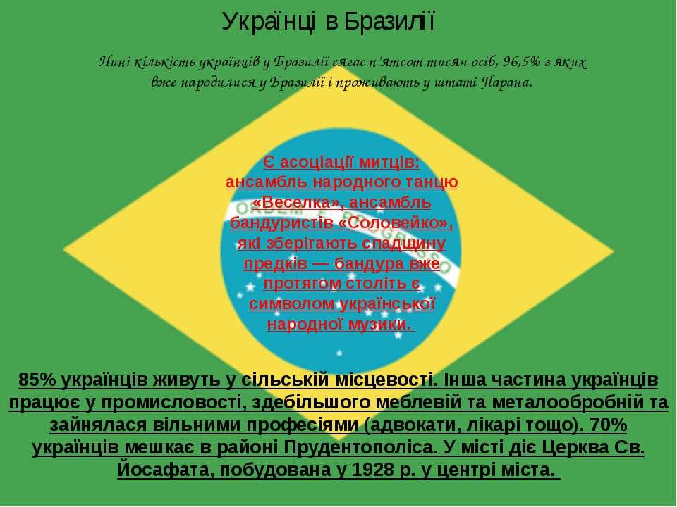 Українці в Бразилії 85% українців живуть у сільській місцевості. Інша частина...