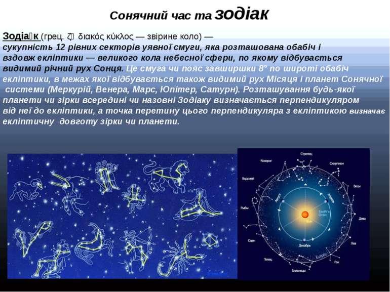 Сонячний час та зодіак Зодіа к (грец. ζῳδιακός κύκλος — звірине коло) — сукуп...