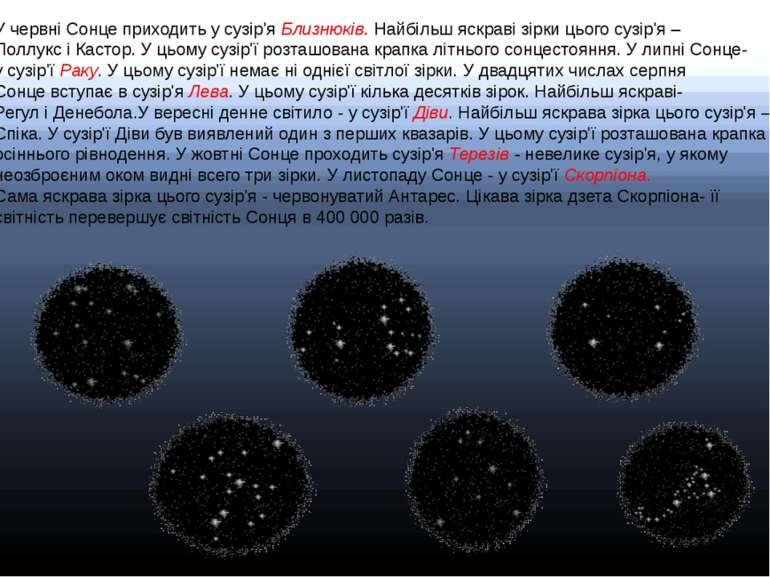 У червні Сонце приходить у сузір'я Близнюків. Найбільш яскраві зірки цього су...