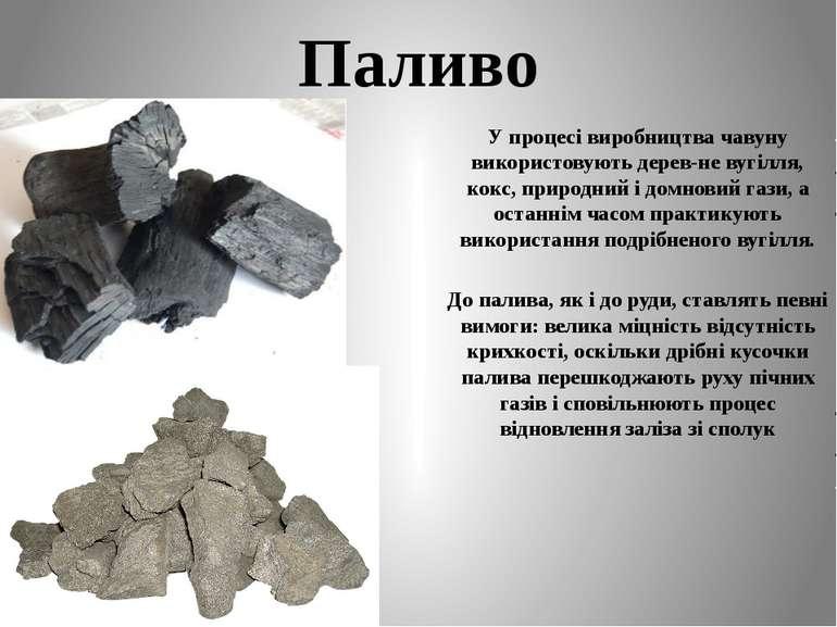 Паливо У процесі виробництва чавуну використовують дерев-не вугілля, кокс, пр...