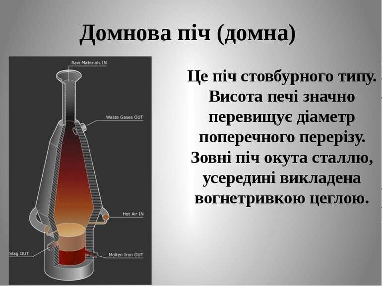 Домнова піч (домна) Це піч стовбурного типу. Висота печі значно перевищує діа...