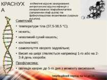 КРАСНУХА Симптоми: температури тіла (37,5-38,5 °C); нежить; невеликий сухий к...