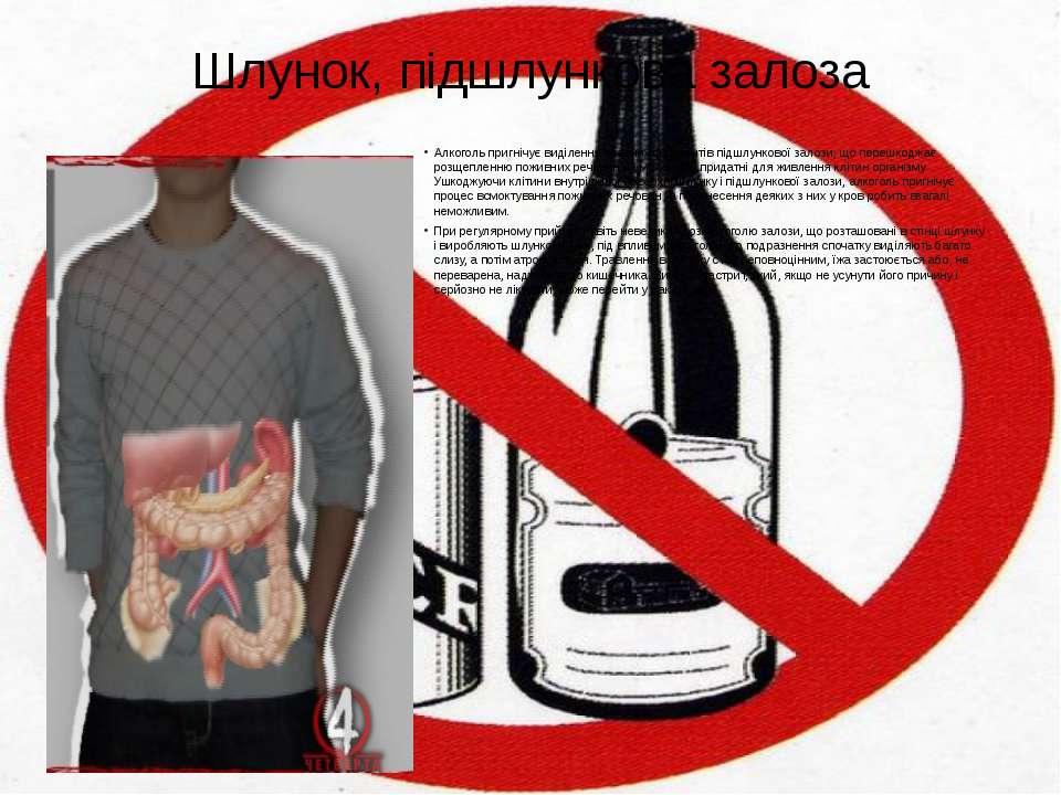 Шлунок, підшлункова залоза Алкоголь пригнічує виділення травних ферментів під...