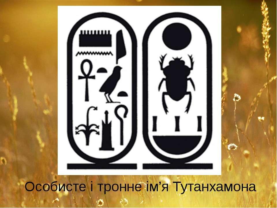 Особисте і тронне ім'я Тутанхамона