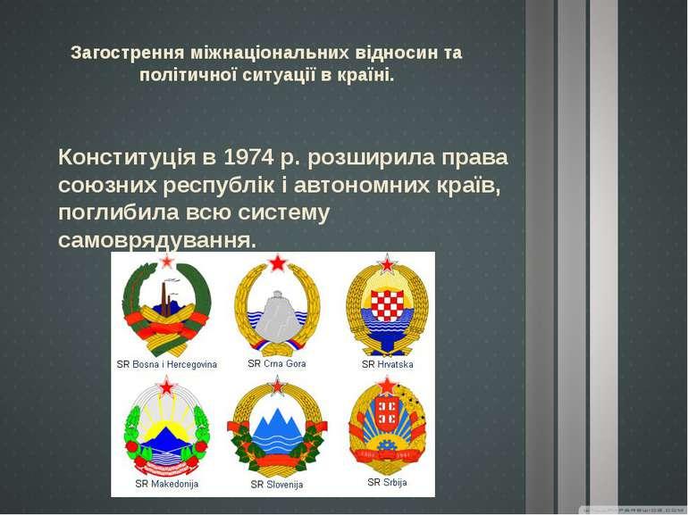 Загострення міжнаціональних відносин та політичної ситуації в країні. Констит...