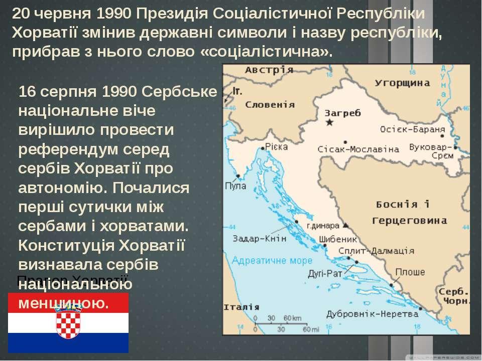 20 червня 1990 Президія Соціалістичної Республіки Хорватії змінив державні си...