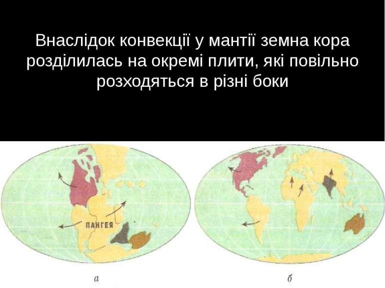 Внаслідок конвекції у мантії земна кора розділилась на окремі плити, які пові...