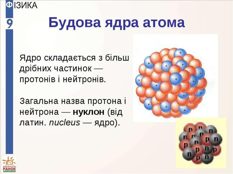 Будова ядра атома Ядро складається з більш дрібних частинок — протонів і нейт...