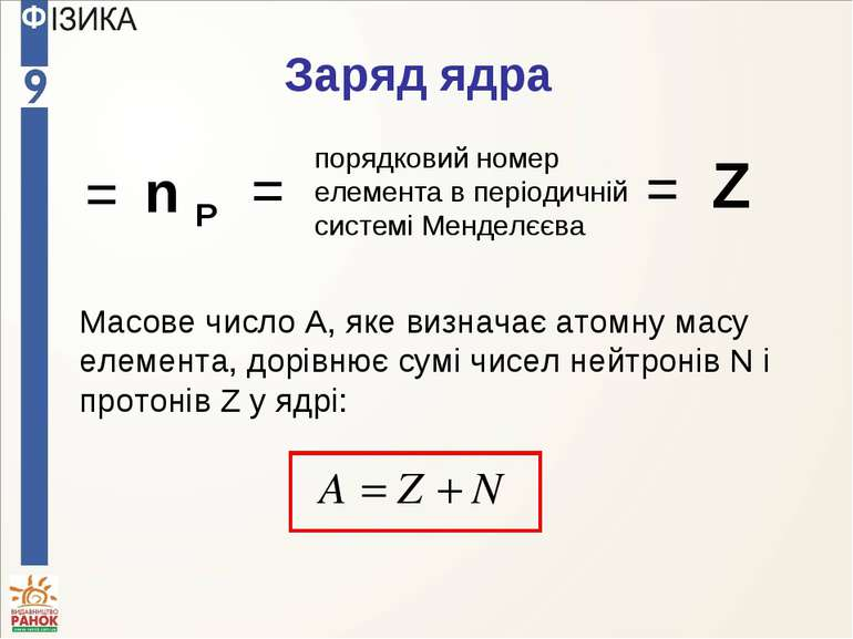 Масове число A, яке визначає атомну масу елемента, дорівнює сумі чисел нейтро...