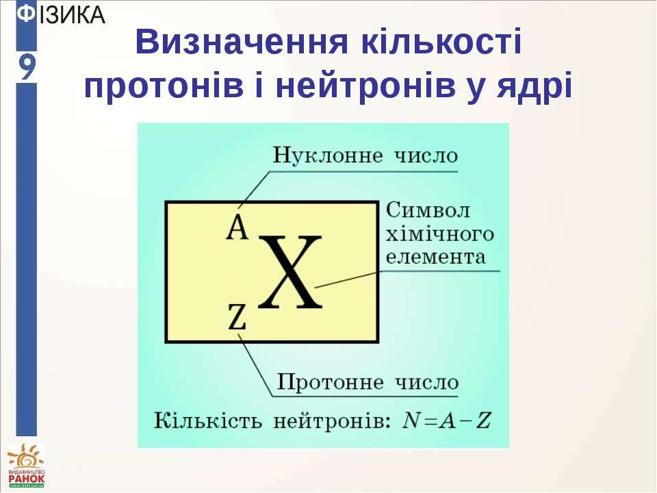 Визначення кількості протонів і нейтронів у ядрі