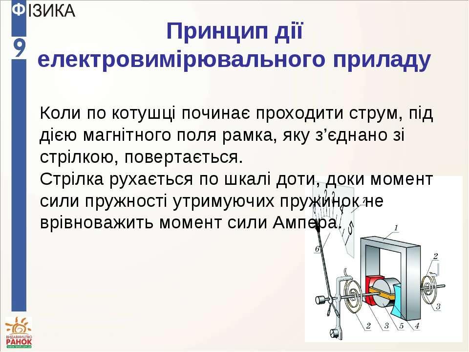 Принцип дії електровимірювального приладу Коли по котушці починає проходити с...