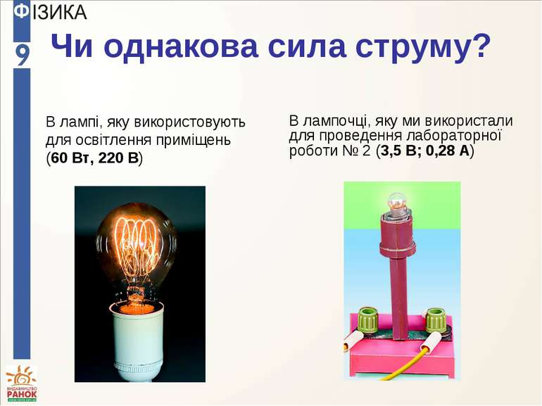 Чи однакова сила струму? В лампі, яку використовують для освітлення приміщень...