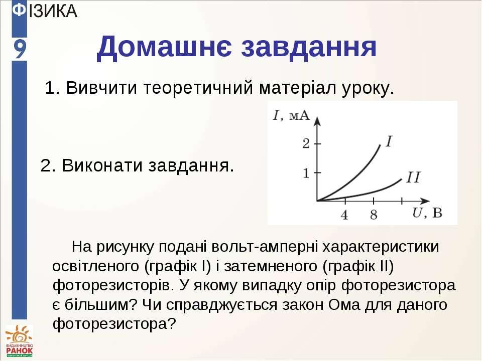 Домашнє завдання На рисунку подані вольт-амперні характеристики освітленого (...