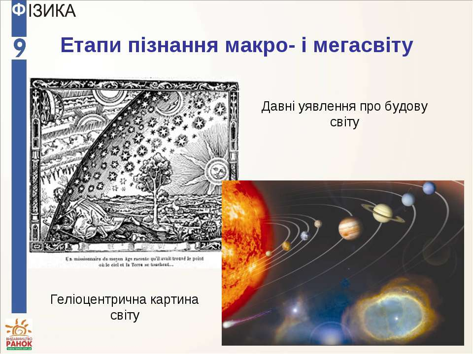 Етапи пізнання макро- і мегасвіту Давні уявлення про будову світу Геліоцентри...