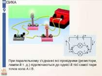 При паралельному з'єднанні всі провідники (резистори, лампи й т. д.) підключа...