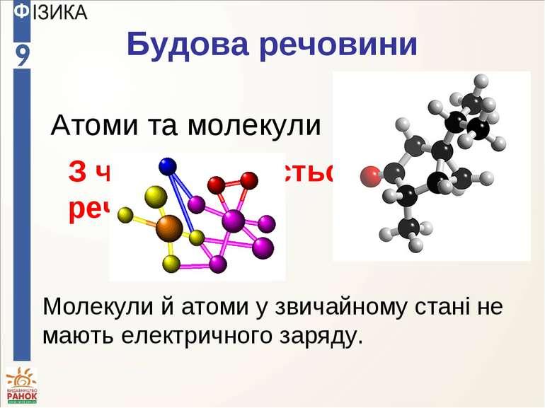 Будова речовини З чого складається будь-яка речовина? Атоми та молекули Молек...
