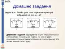 Домашнє завдання Який струм тече через амперметри, зображені на рис. а—в? Дод...