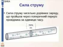 Сила струму Сила струму чисельно дорівнює заряду, що пройшов через поперечний...
