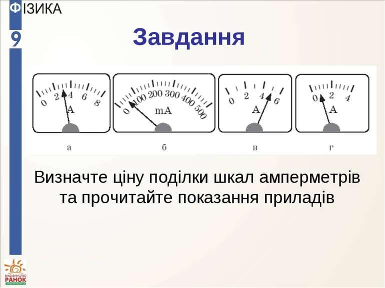 Завдання Визначте ціну поділки шкал амперметрів та прочитайте показання приладів