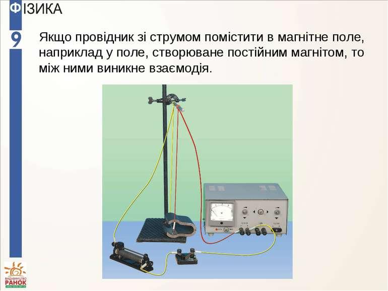Якщо провідник зі струмом помістити в магнітне поле, наприклад у поле, створю...
