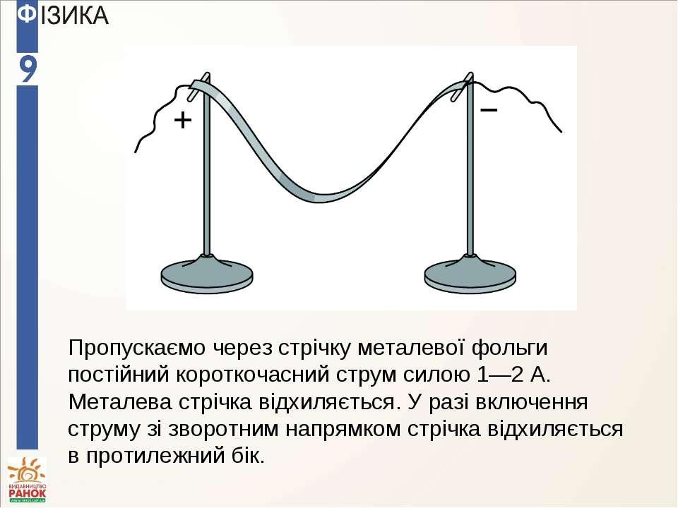 Пропускаємо через стрічку металевої фольги постійний короткочасний струм сило...