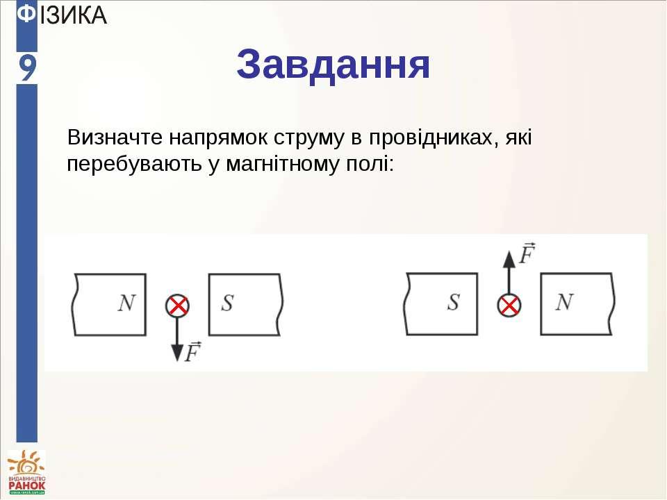 Завдання Визначте напрямок струму в провідниках, які перебувають у магнітному...