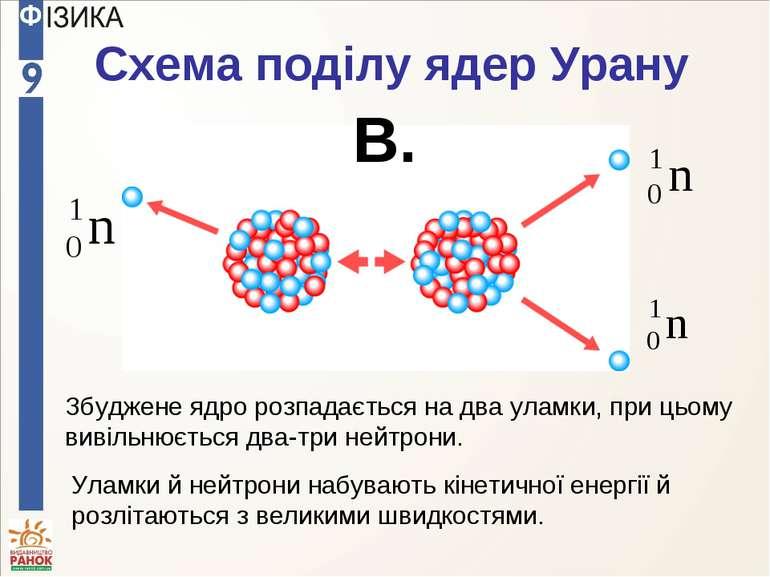 Схема поділу ядер Урану В. Збуджене ядро розпадається на два уламки, при цьом...