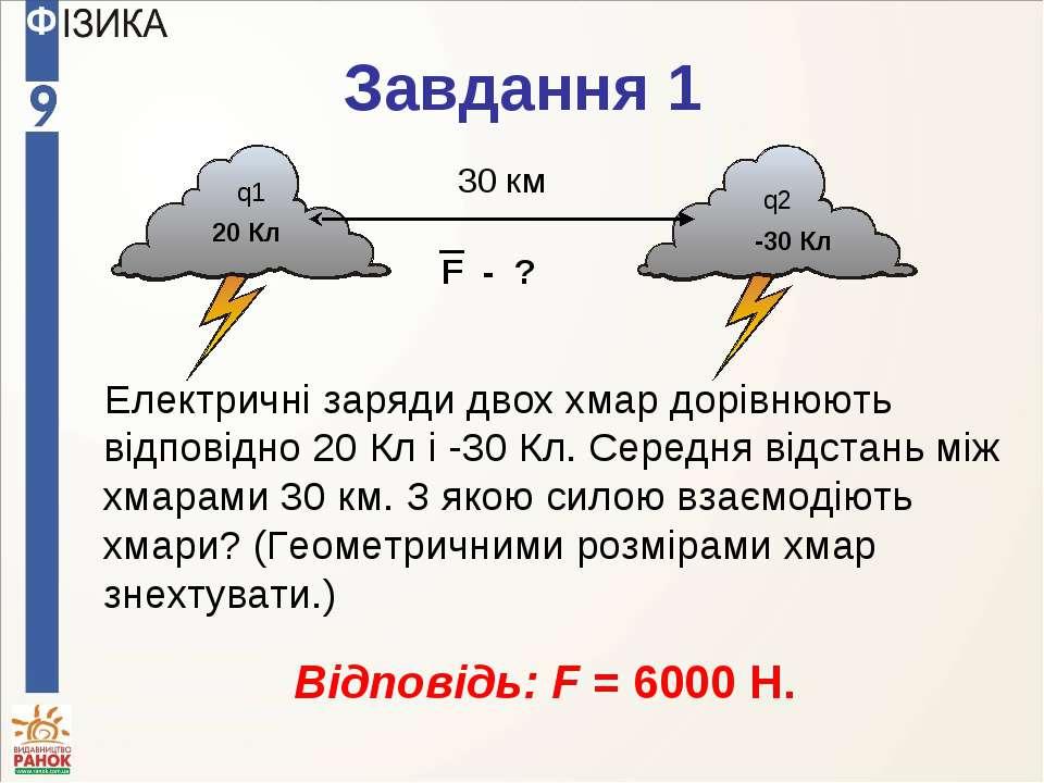 Завдання 1 Електричні заряди двох хмар дорівнюють відповідно 20 Кл і -30 Кл. ...