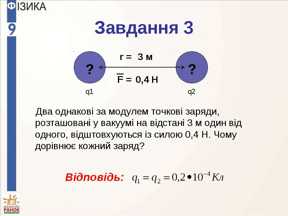 Завдання 3 Два однакові за модулем точкові заряди, розташовані у вакуумі на в...
