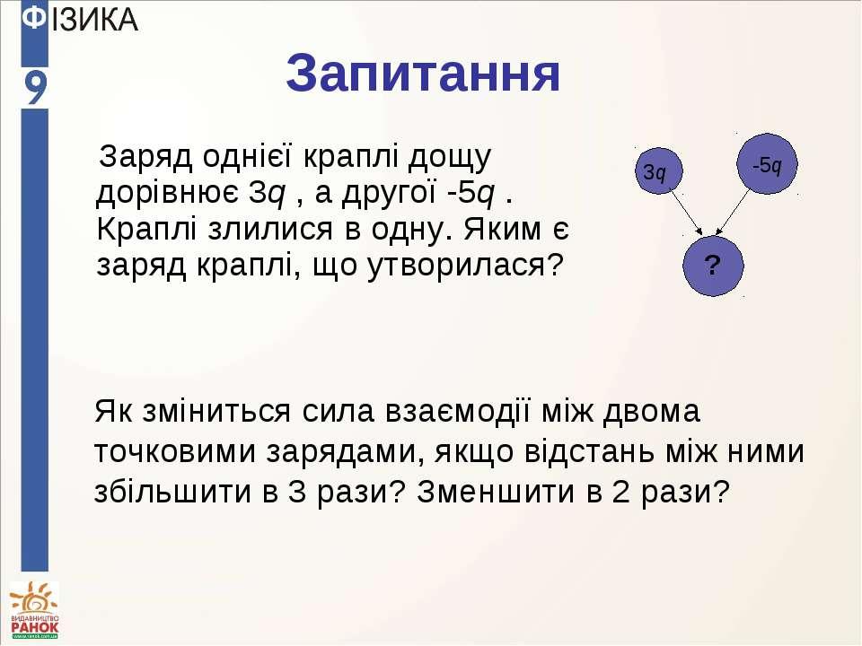 Запитання Заряд однієї краплі дощу дорівнює 3q , а другої -5q . Краплі злилис...