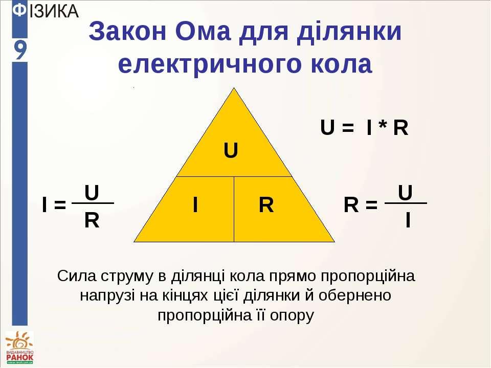 Закон Ома для ділянки електричного кола U I R Cила струму в ділянці кола прям...
