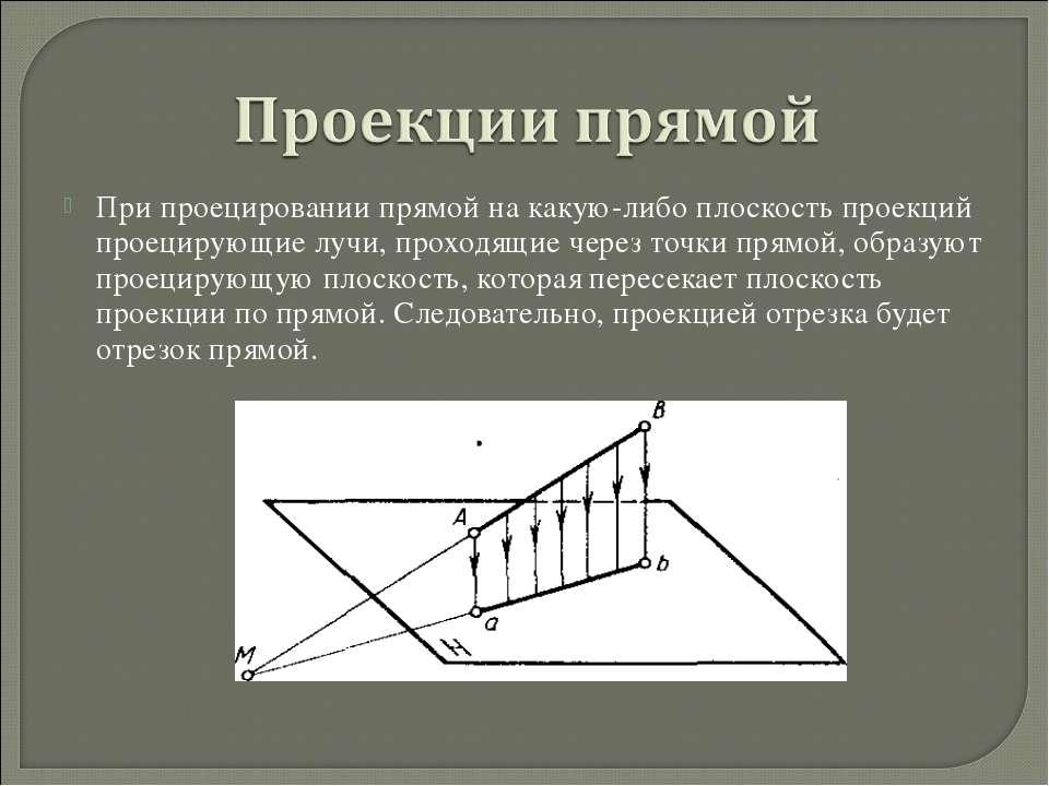 При проецировании прямой на какую-либо плоскость проекций проецирующие лучи, ...