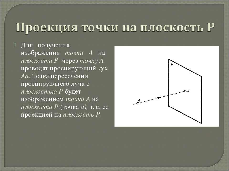 Для получения изображения точки А на плоскости Р через точку А проводят проец...