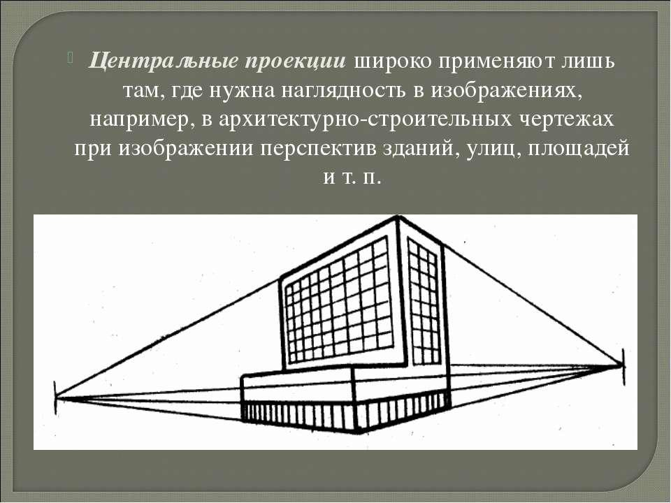 Центральные проекции широко применяют лишь там, где нужна наглядность в изобр...