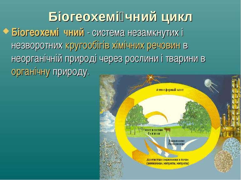 Біогеохемі чний цикл Біогеохемі чний- система незамкнутих і незворотнихкруг...