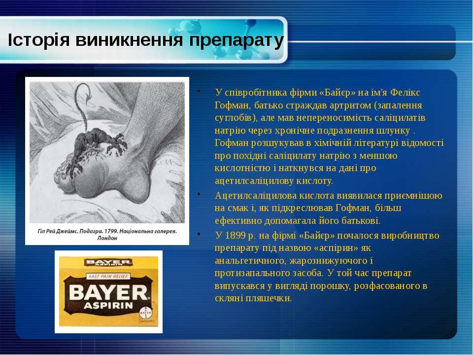 Історія виникнення препарату У співробітника фірми «Байєр» на ім'я Фелікс Гоф...