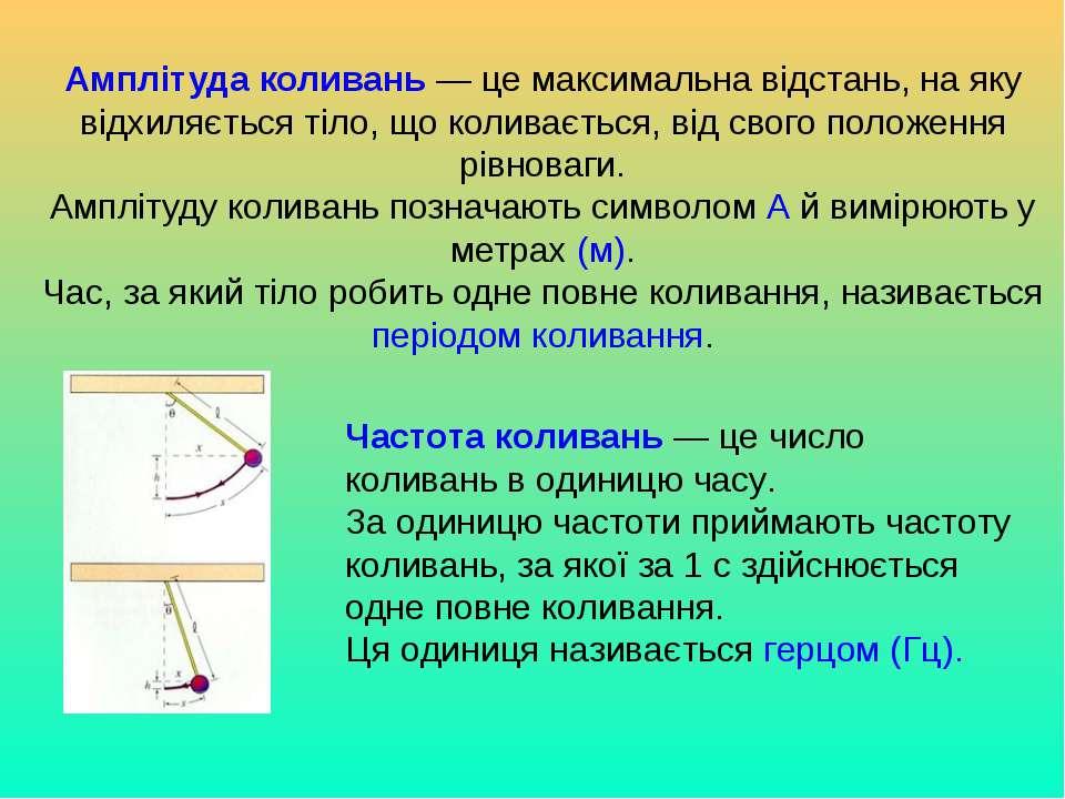 Амплітуда коливань — це максимальна відстань, на яку відхиляється тіло, що ко...
