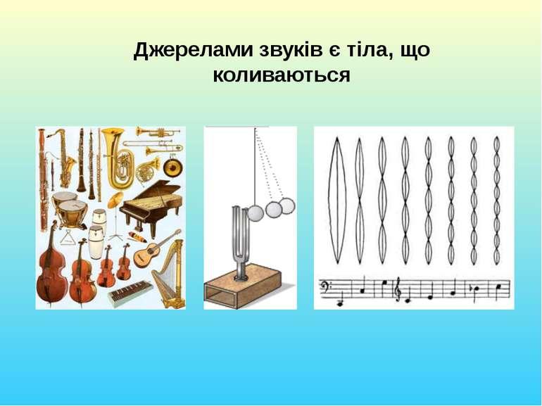 Джерелами звуків є тіла, що коливаються