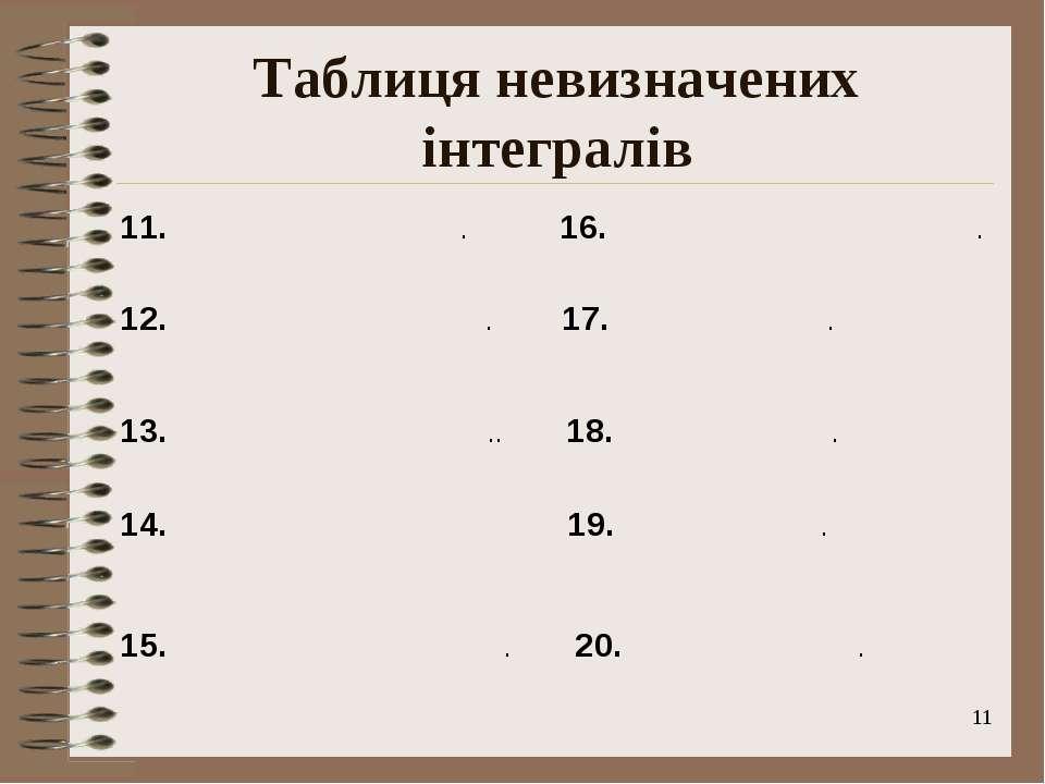 * Таблиця невизначених інтегралів