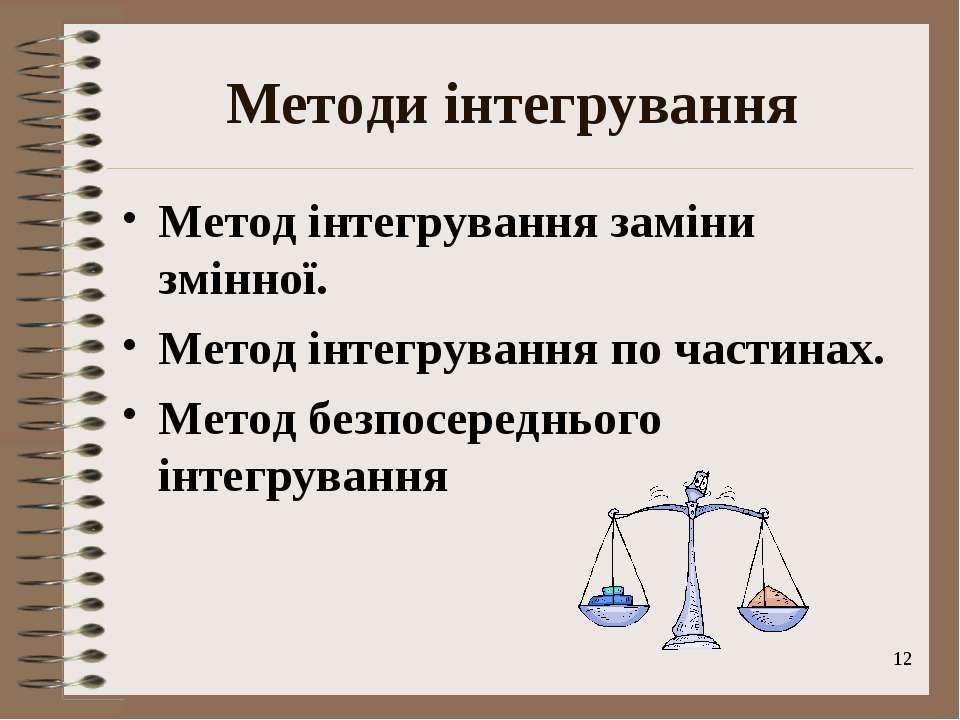 * Методи інтегрування Метод інтегрування заміни змінної. Метод інтегрування п...