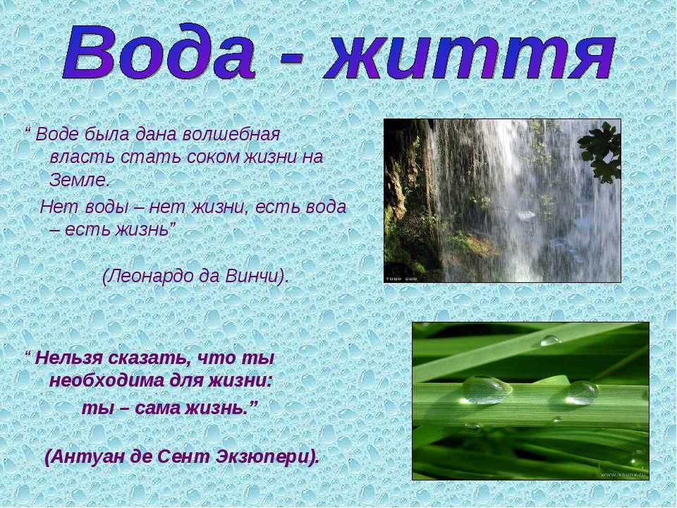 """"""" Воде была дана волшебная власть стать соком жизни на Земле. Нет воды – нет ..."""