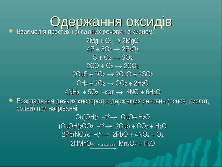 Одержання оксидів Взаємодія простих і складних речовин з киснем: 2Mg + O2 2Mg...