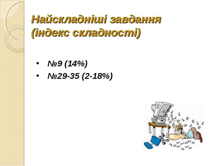 Найскладніші завдання (індекс складності) №9 (14%) №29-35 (2-18%)